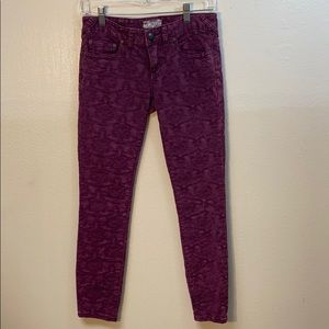 Free People Purple Embossed And Embroidered Jeans